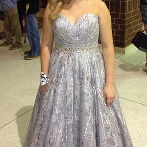 Silver sherri hill pageant or prom dress